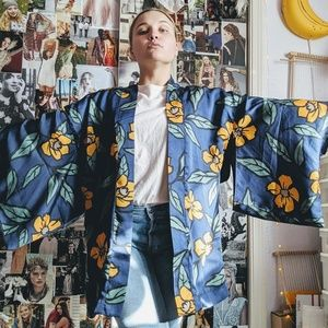 Flower Covered Blue and Yellow Kimono